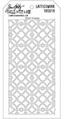 TIM HOLTZ LAYERED STENCIL THS019 LATTICEWORK  Use these stencils to layer with inks, paints, stamps and more to create unique designs and paper crafts. With a total size of 4.125 inches x 8.5 inches each tag has a hole in the top to attach with a basic book ring to make storage and organization easy. STAMPERS ANONYMOUS-Tim Holtz Layered Stencil. These creative and unique designs will allow you to create wonderful paper crafts and more! Use these stencils to later ...