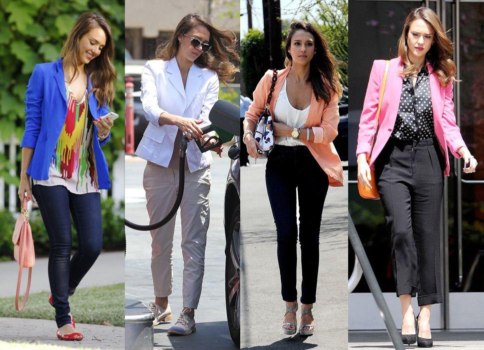 Como Fazer Artesanato Reciclagem De Garrafa Pet ~ El secreto de estilo de Jessica Alba un blazer de cada color My Fashion Week Pinterest