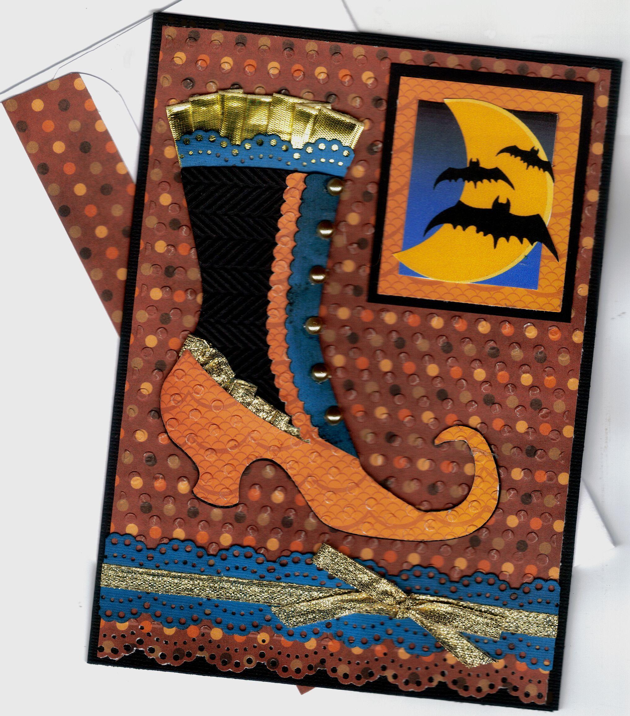 Witch Shoe Bats Halloween Card Scrapbook