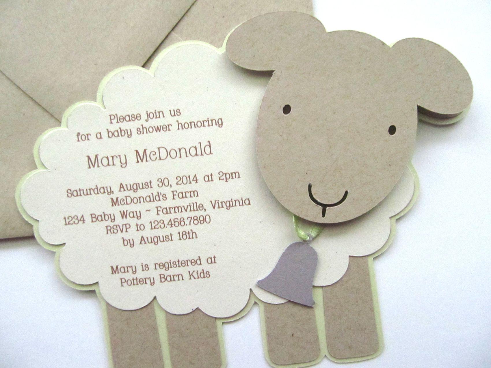Vintage Lamb/Sheep baby shower invitation. For custom ordering ...