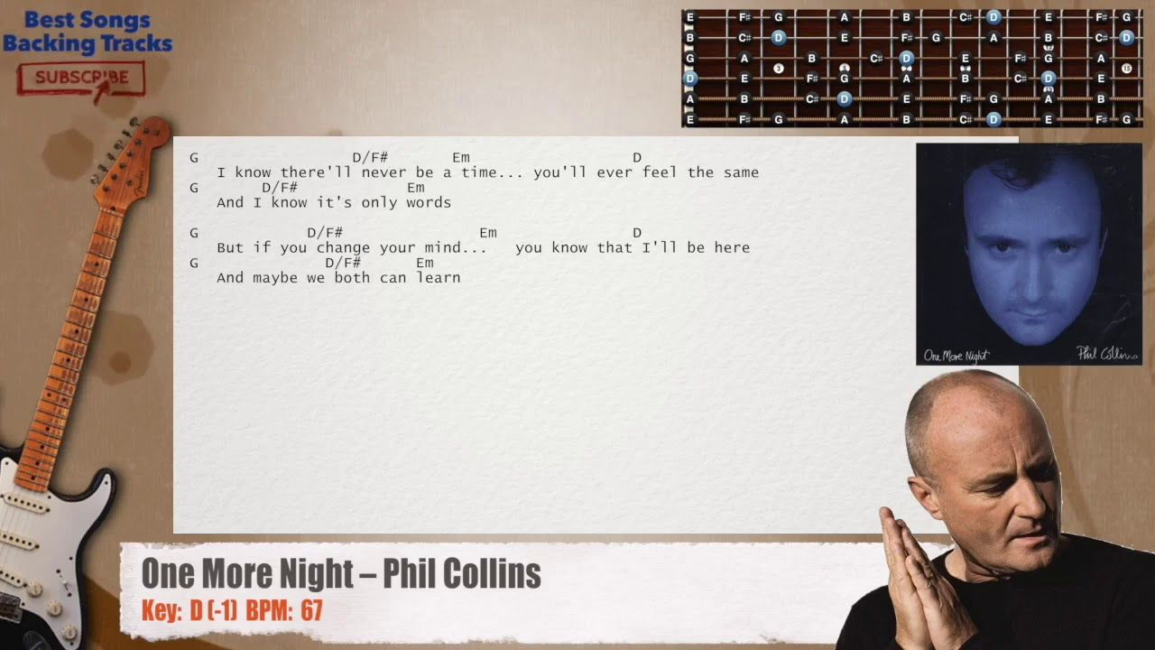 One More Night Phil Collins Guitar Backing Track With Chords And