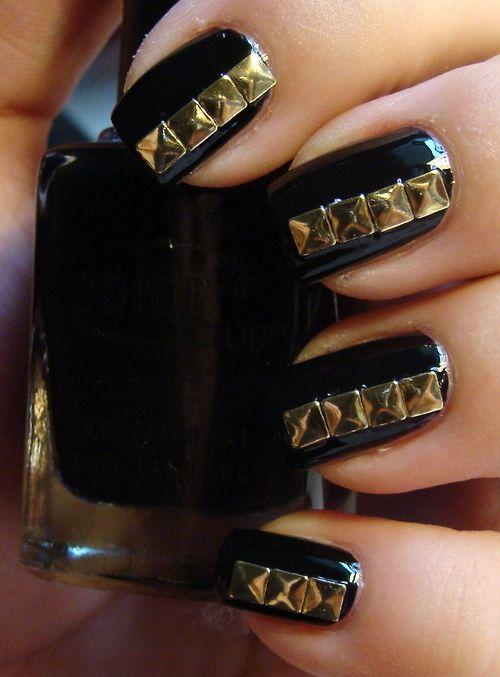 Nail Inspiration - black polish with gold pyramid stud detailing. #Beauty #Nails