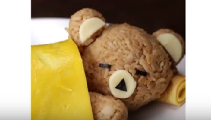 sleeping rice bear with an egg blanket a wonderful dish that will be to your children s liking for sure creative and tasty dinner for kids