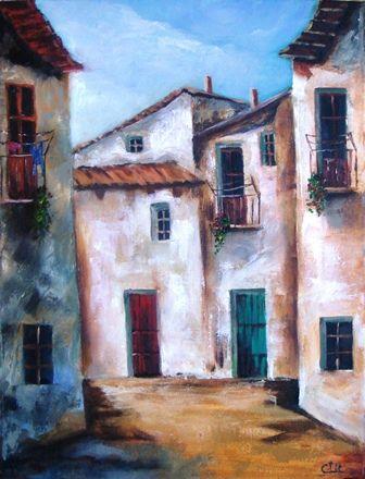 """En la calle"" Obra pintada al oleo con espátula.  35 x 27 cm."