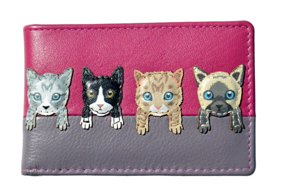 Details about cat card holder wallet by mala leather pink