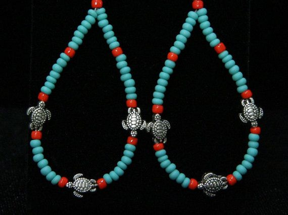 Tibetan turtle earrings with turquoise beads orange seed beads perfect for any summer outfits or in winter just for fun E-06