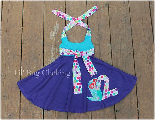 Little Mermaid Ariel  Birthday Comfy Knit  Polka Dot Birthday Girl Summer Halter Dress   12 18 24 2t 3t 4t 5t 6 7 8 9/10 girl on Etsy, $38.00