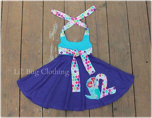 Little Mermaid Ariel  Birthday Comfy Knit  Polka Dot Birthday Girl Summer Halter Dress   12 18 24 2t 3t 4t 5t 6 7 8 9/10 girl on Etsy, $38.00