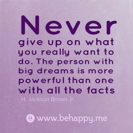 10 Brilliant Motivational Quotes I Truly Believe In: Never..give Up On What You Want To Do. The Person With Big