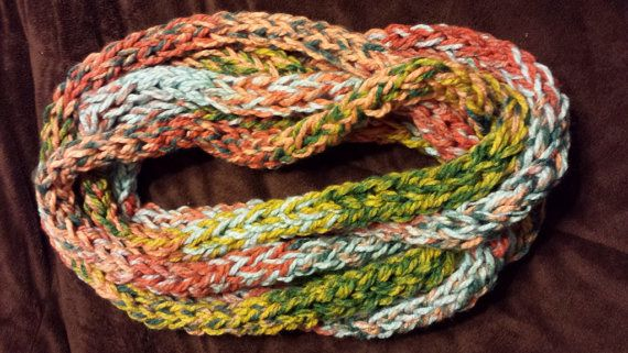 Multicolor chunky infinity scarf by AinsleyDesigns on Etsy, $20.00