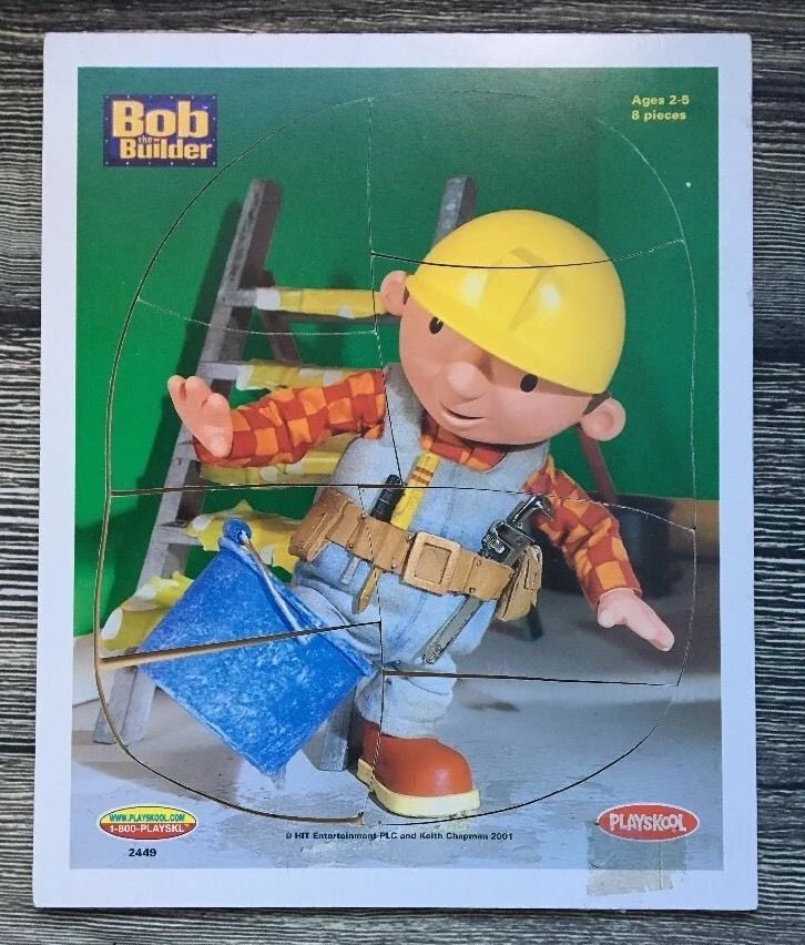 Bob The Builder Kids Board Puzzle Construction Worker Theme Tray ...