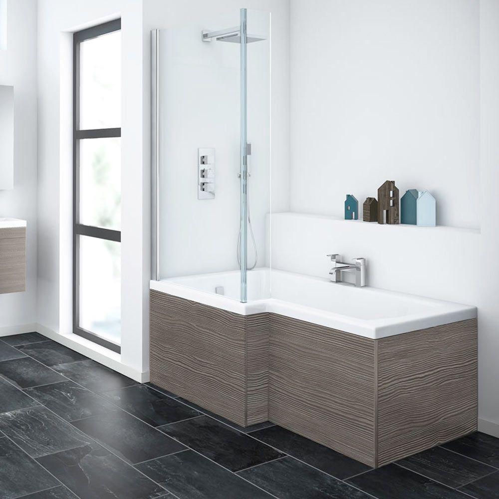 Brooklyn Grey Avola Shower Bath - 1700mm L Shaped Inc. Screen + ...
