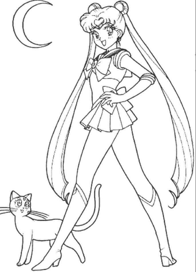 sailor moon coloring pages luna and usagijpg
