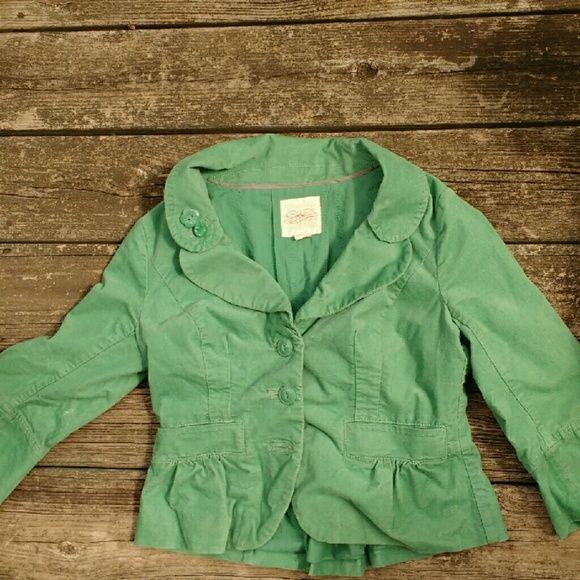 Anthropologie Green blazer, women's with derail Buttons on collar, 3/4 sleeve Anthropologie Jackets & Coats Blazers