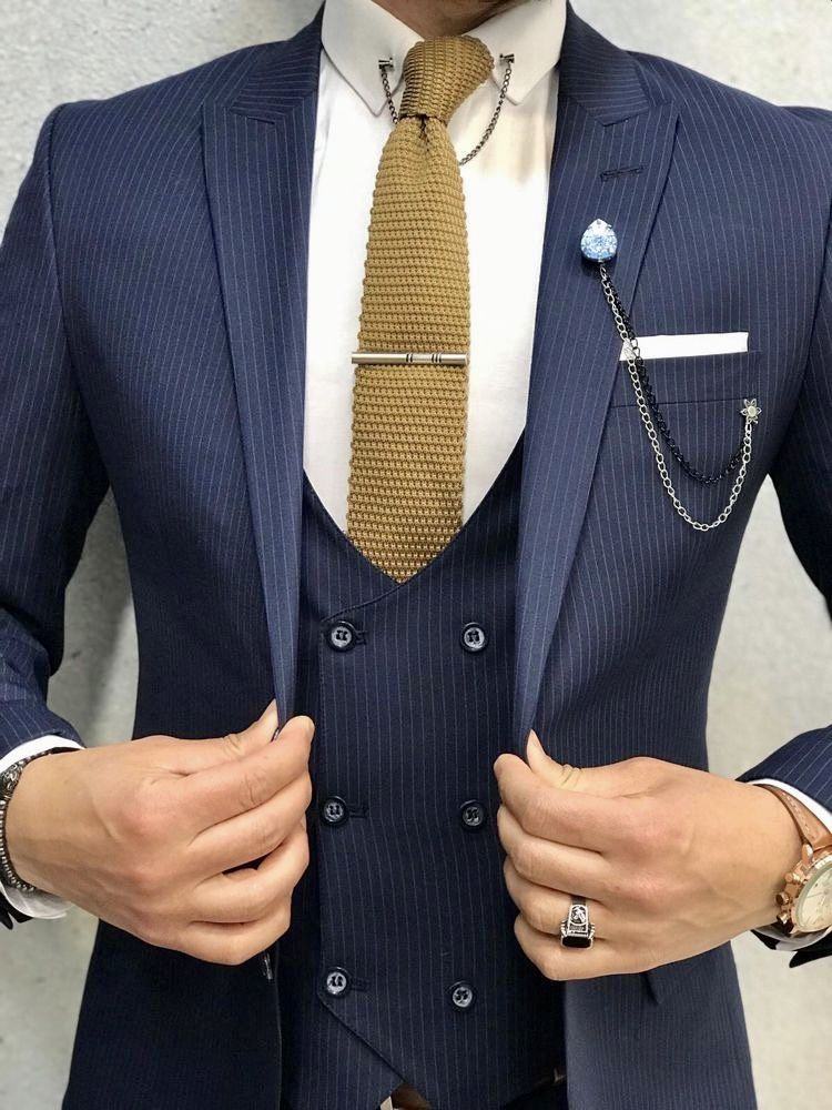 Mens Blue Tweed Wool Plaid Slim Fit Tuxedo Grooms Classic White Check Gold Button Suit
