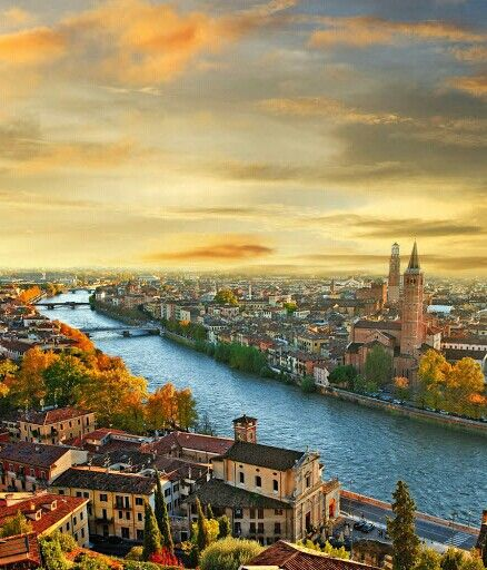 The warm colors of autumn in Verona, province of Verona , Veneto