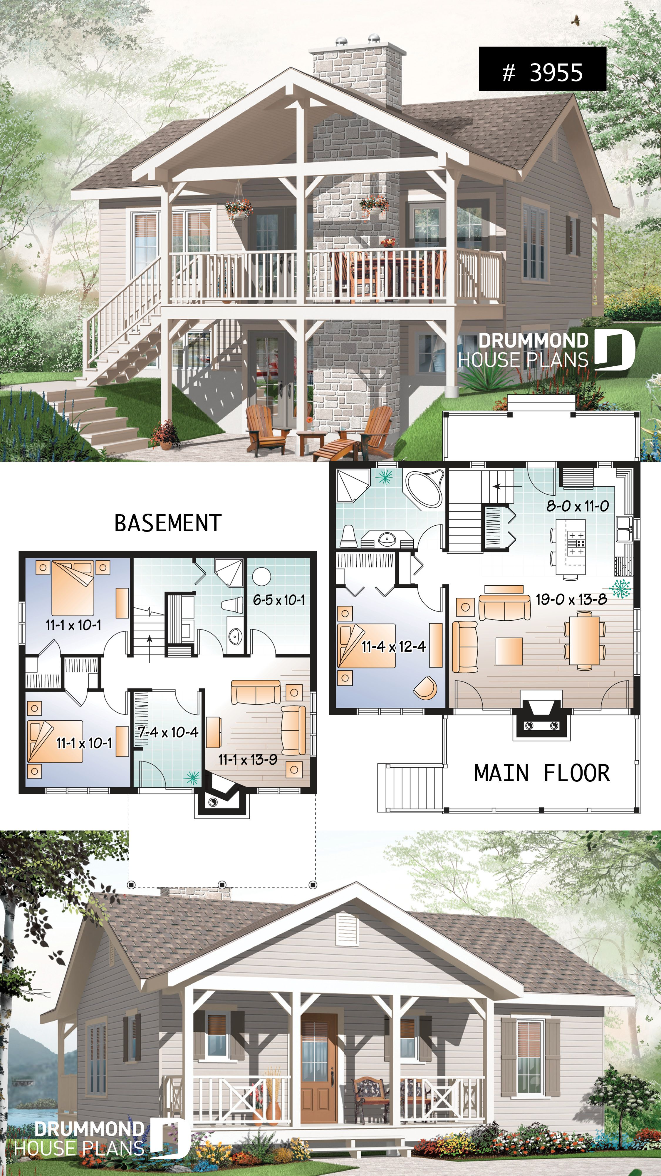 Discover The Plan 3955 Leslie Which Will Please You For Its 3 4 Bedrooms And For Its Cottage Chalet Cabin Styles Sims House Plans Drummond House Plans Lake House Plans