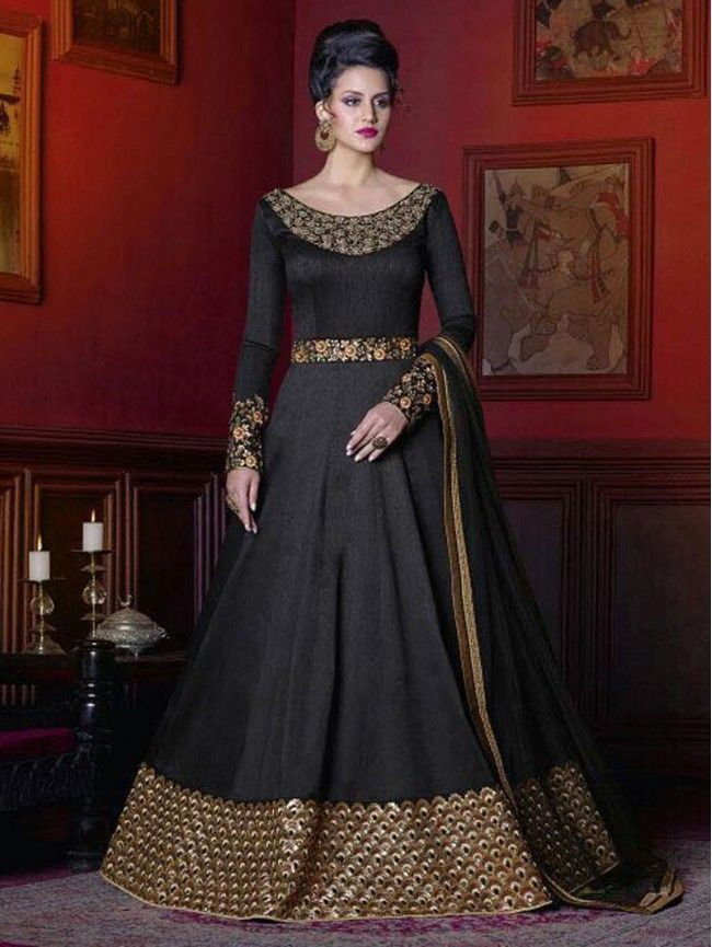 92de03568f Black Colour Latest Indian Bollywood Designer Anarkali Suits Images ...