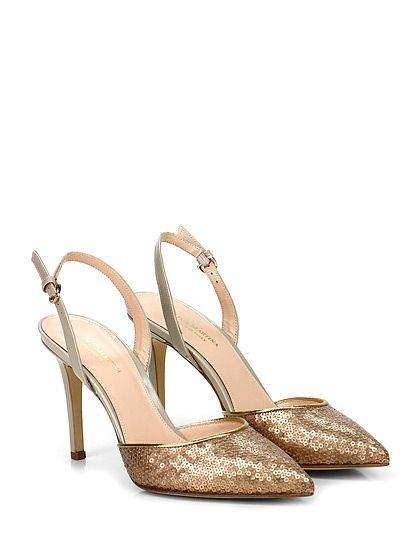 THE SELLER Sandalo con cinturino e tacco alto marronegrigiobeige stile country