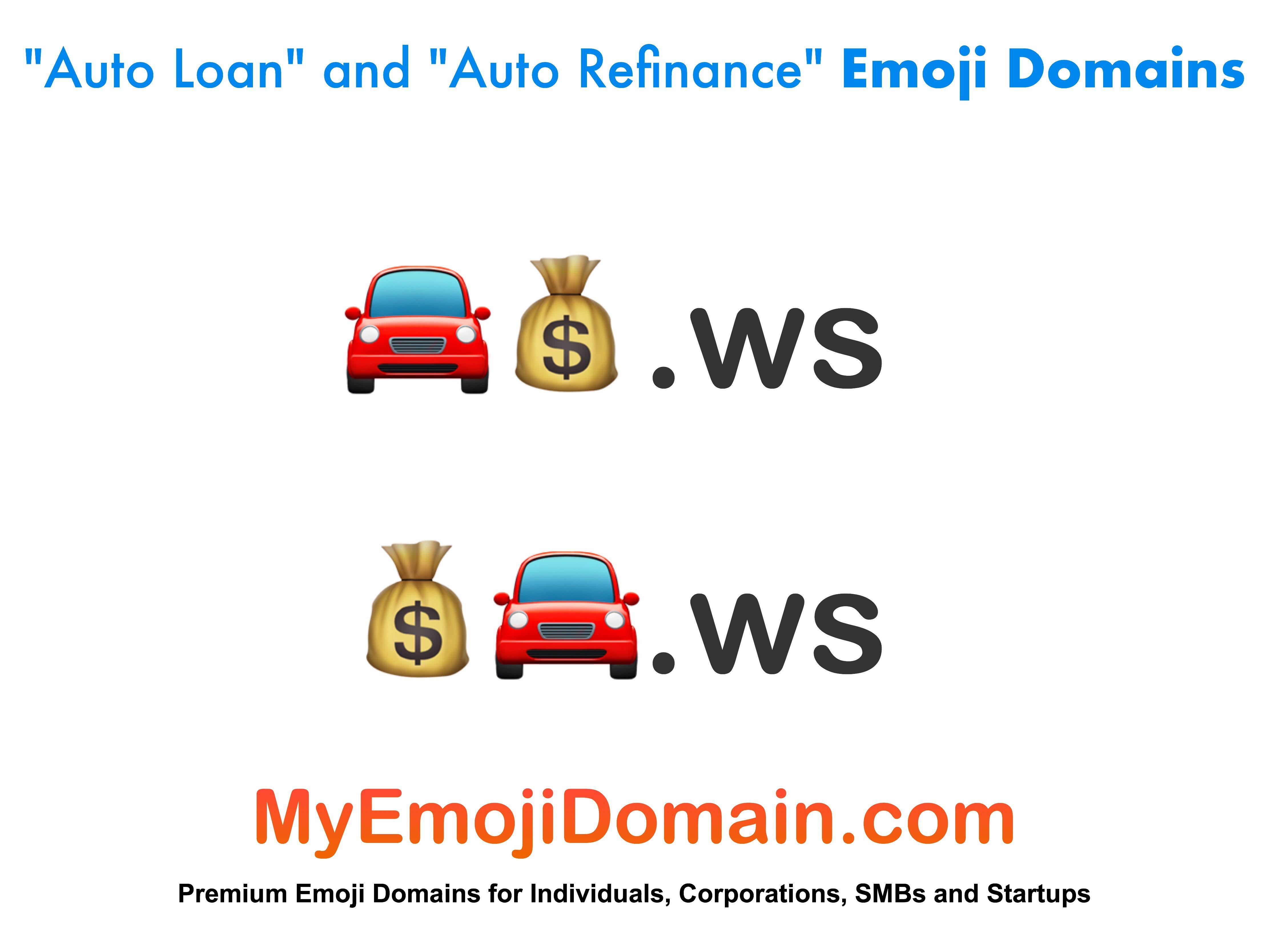 Premium Auto Loan and Auto Refinance Emoji Domain Names