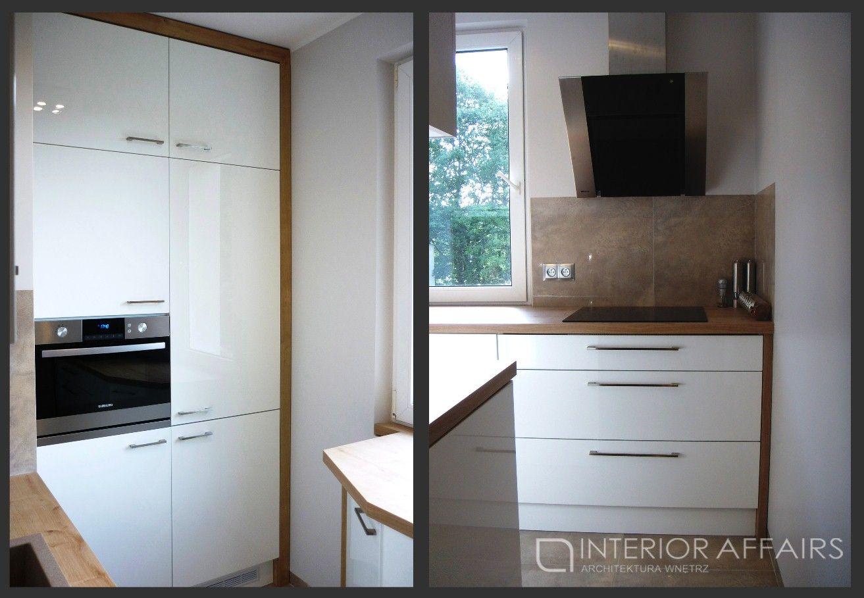 Mala Biala Kuchnia Polaczona Z Drewnianym Blatem Home Decor Kitchen Small Kitchen
