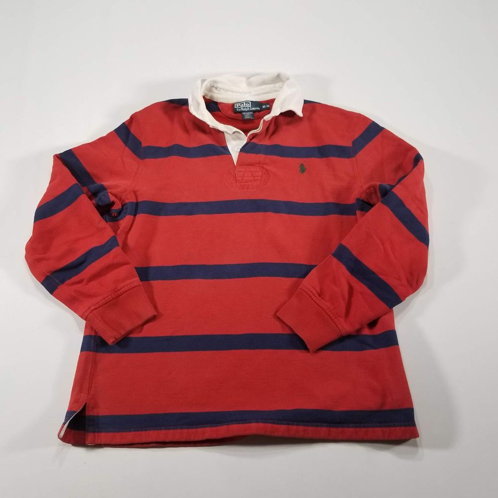 d03e7aa1f VTG POLO RALPH LAUREN Red Blue Striped Rugby Shirt MEDIUM White Collar 90s  Pony  PoloRalphLauren  PoloRugby