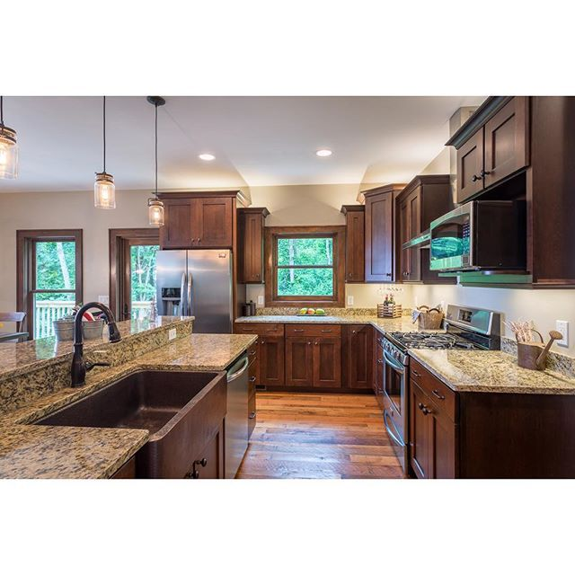 Custom kitchen with granite countertops, a hammered copper ... on Kitchen Farmhouse Granite Countertops  id=32365