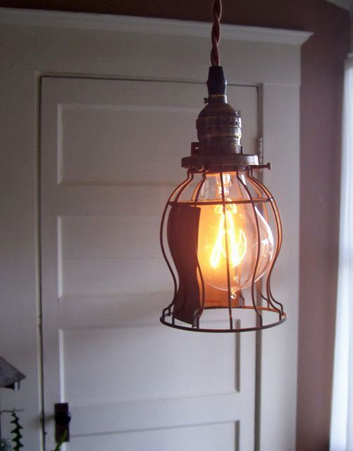 Industrial Hanging Corded Pendant Light with Wire Bulb Guard