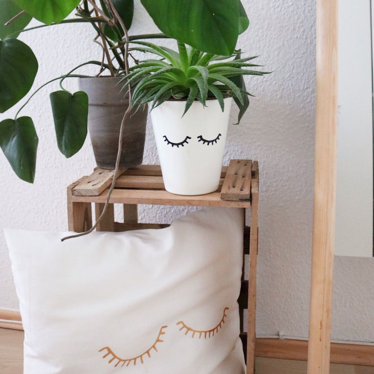 diy kissen diy bertopf bemalen mr planter miss pillow diy 39 s doitbutdoitnow. Black Bedroom Furniture Sets. Home Design Ideas