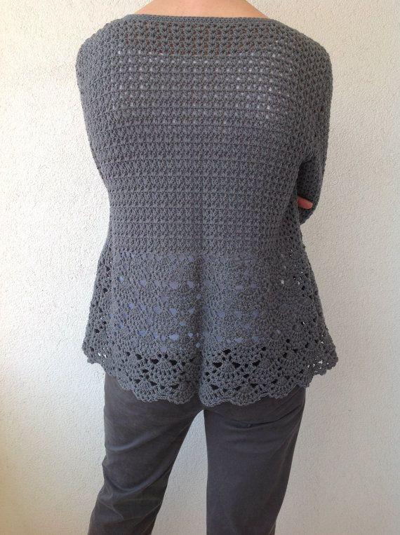 Women Crochet Cardigangray Crochet Jackedcrochet Cotton Cardigan