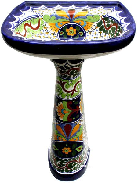 Custom Hand Painted Wooden Mexican Toilet Seats, Pedestal Sinks, Talavera  Toilets And Bathroom Accessories