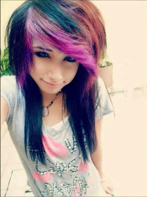 Emo Girl Purple Blue And Red Hair Blue Eyes Emo Hair Color
