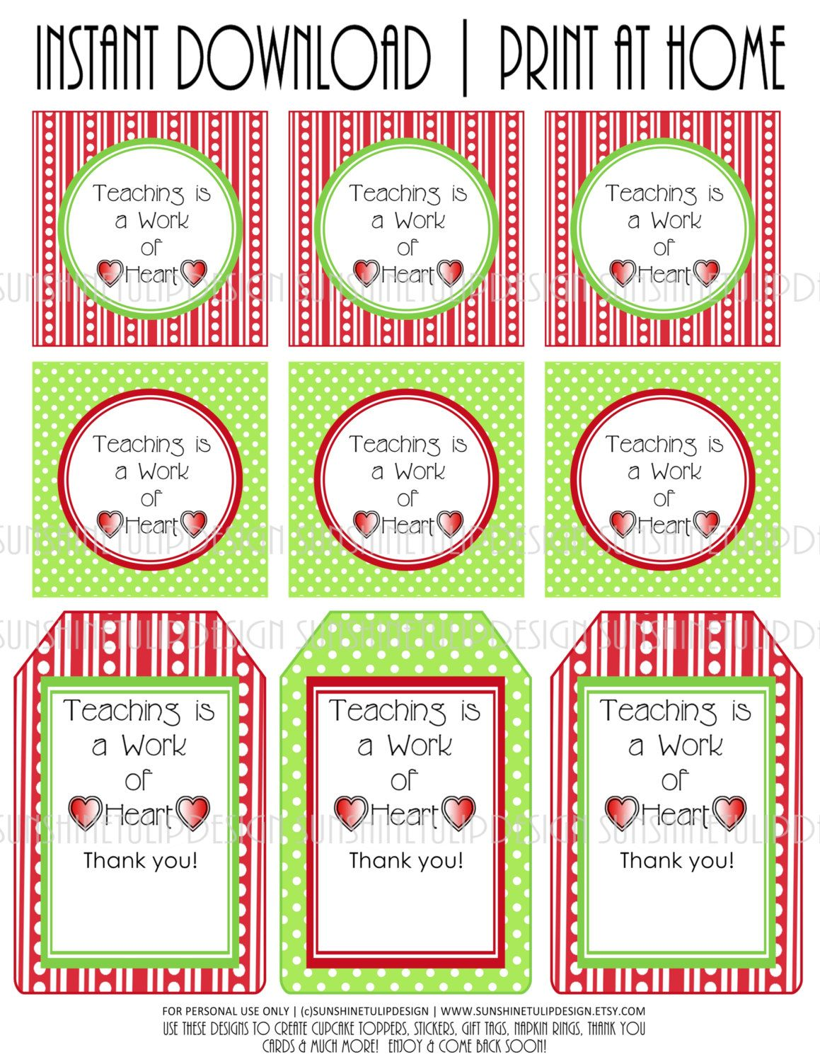 This is an image of Transformative Teacher Appreciation Tags Printable