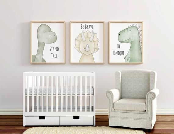Inspirational Dinosaur Print Set, Dinosaur Decor, Dinosaur Nursery Art, T Rex Print, Boys Room Decor, Girls, Boys Nursery, Nursery Quotes
