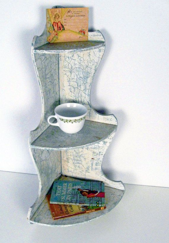 Vintage 3 Tier Wooden Corner Wall Shelf White And Teal Le Cottage Style 1950s 1960s 30 00