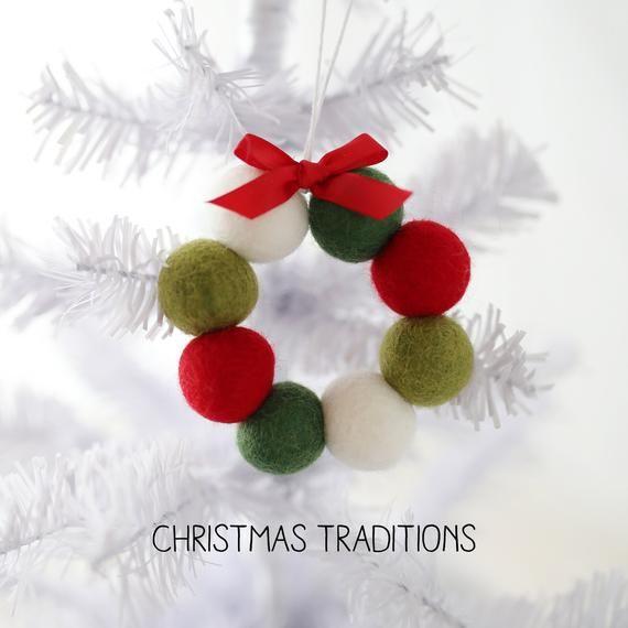 Felt ball wreath ornaments - Felt tree ornaments | Felt ball wreath, Felt christmas ornaments ...