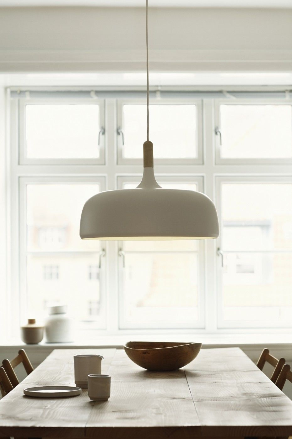 Scandic Style At Its Best The Acorn Pendant Here Over A Rustic Kitchen Table Lights Over Dining Table Dining Table Lighting Kitchen Lighting Over Table
