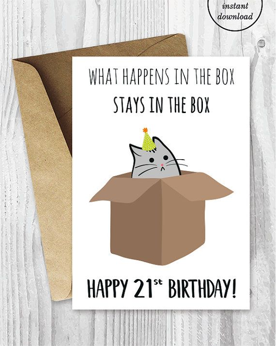 Small Cards A4 Paper 21st Birthday Printable Digital