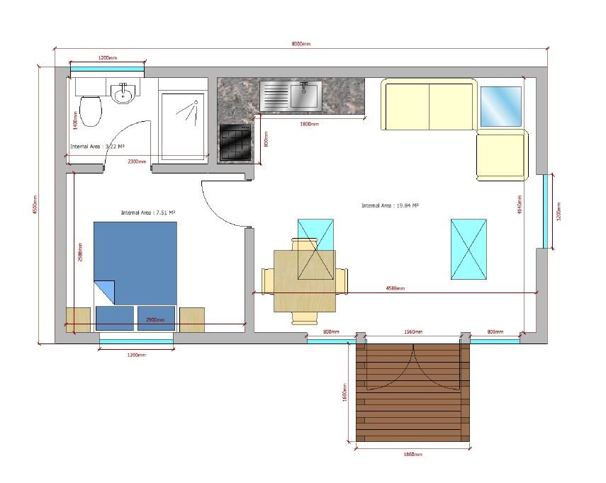 Granny Annexe Floor Plan With Bedroom Bathroom Kitchen And Lounge Dining Area And An Easy Access Ramp Www G House Plans Granny Annexe Garage Apartment Plans