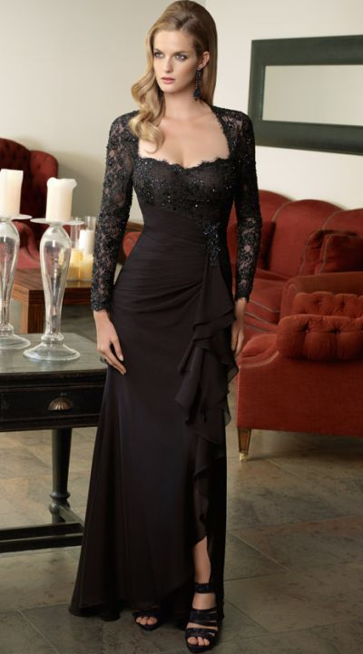 2e78239ce89 VM Collection Chiffon and Long Sleeve Lace Evening Dress 70328 at  frenchnovelty.com  evanora