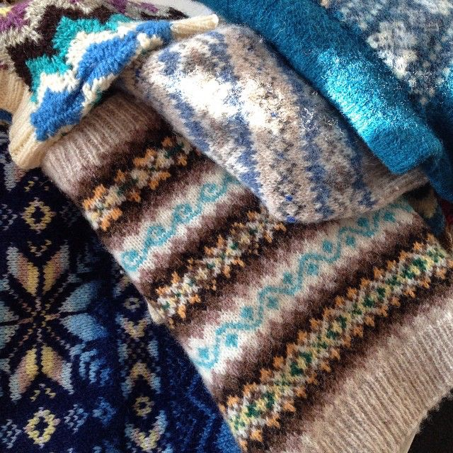 Mary Jane Mucklestone A pile of vintage fair isle jumpers from ...