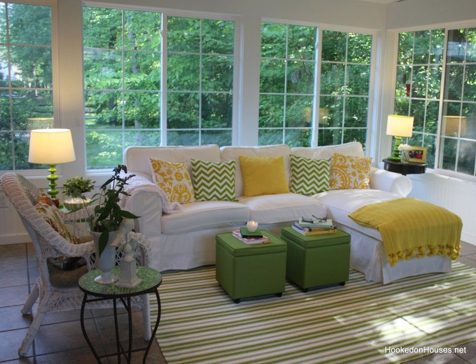 Furniture For Sunrooms With White Sofa On Striped Green