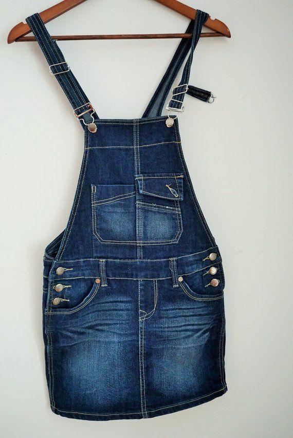 Vintage Denim Dress Sarafan Dresses S Small 36 Jean