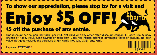 graphic relating to El Torito Coupons Printable known as El Torito Coupon Printable Coupon codes Printable coupon codes