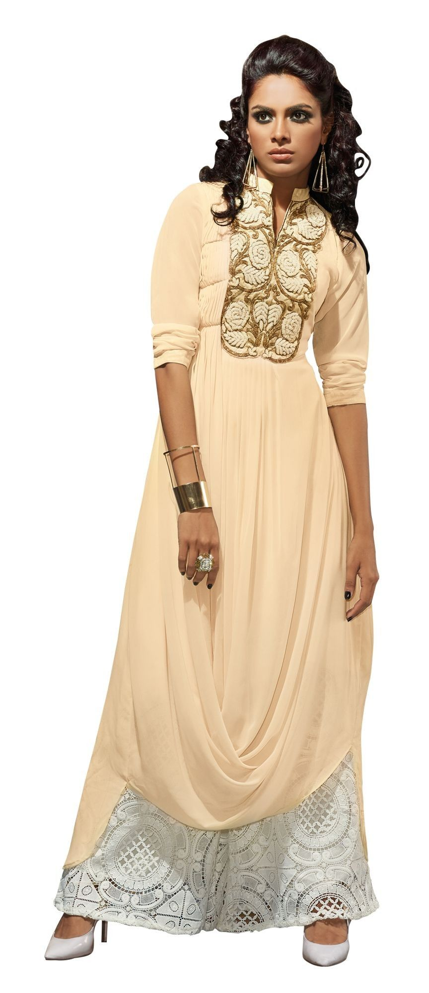 Readymade Georgette Embroidered Kurti M323-104 At Aimdeals.com
