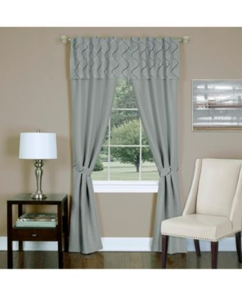 Trellis 5 Piece Window Curtain Set 55x84 Silver Panel