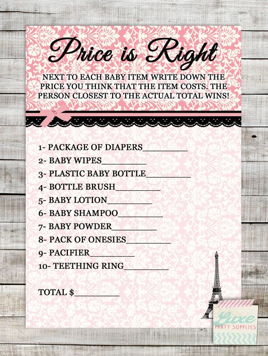Instant Download Printable Baby Shower Price Is Right Game Pink