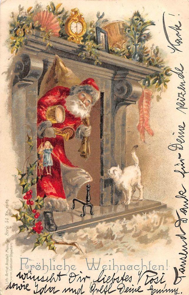 Santa bringing Toys Through The Chimney Christmas Antique Postcard (Lot#B13)