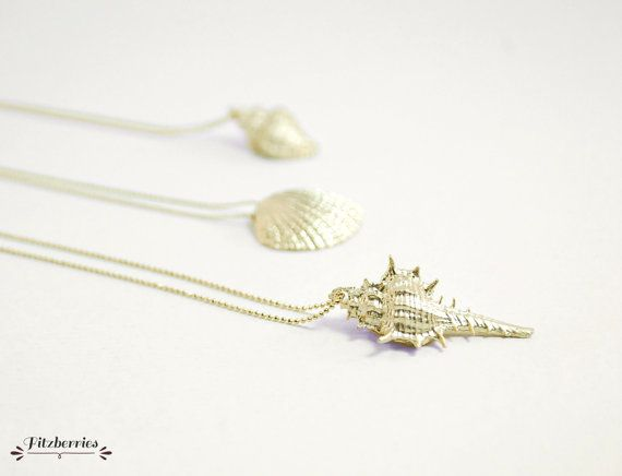 Gold seashell necklace Seashell jewelry Mermaid by Fitzberries