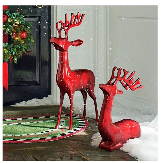 outdoor christmas reindeer 2 red cast aluminum indoor outdoor xmas decoration - Christmas Reindeer 2